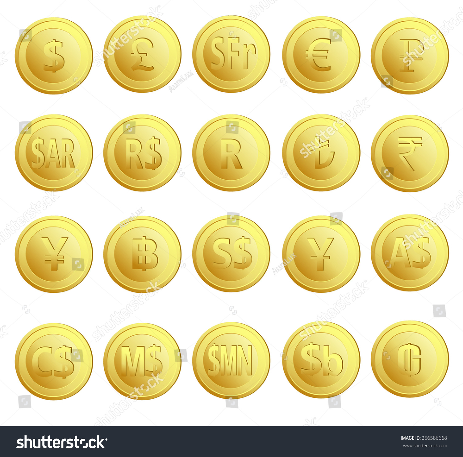 Set 20 Gold Money Currency Euro Stock Vector 256586668 - Shutterstock