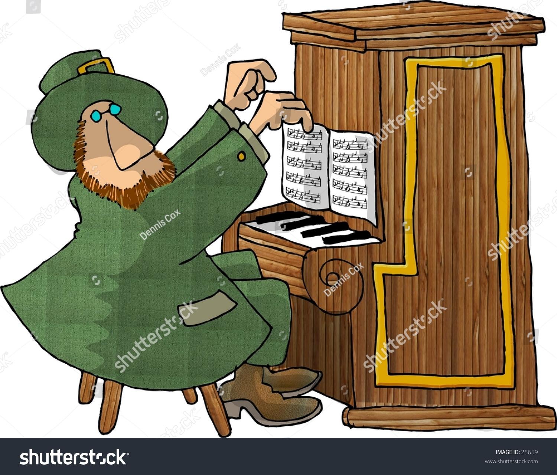 clipart illustration irish leprechaun playing piano stock