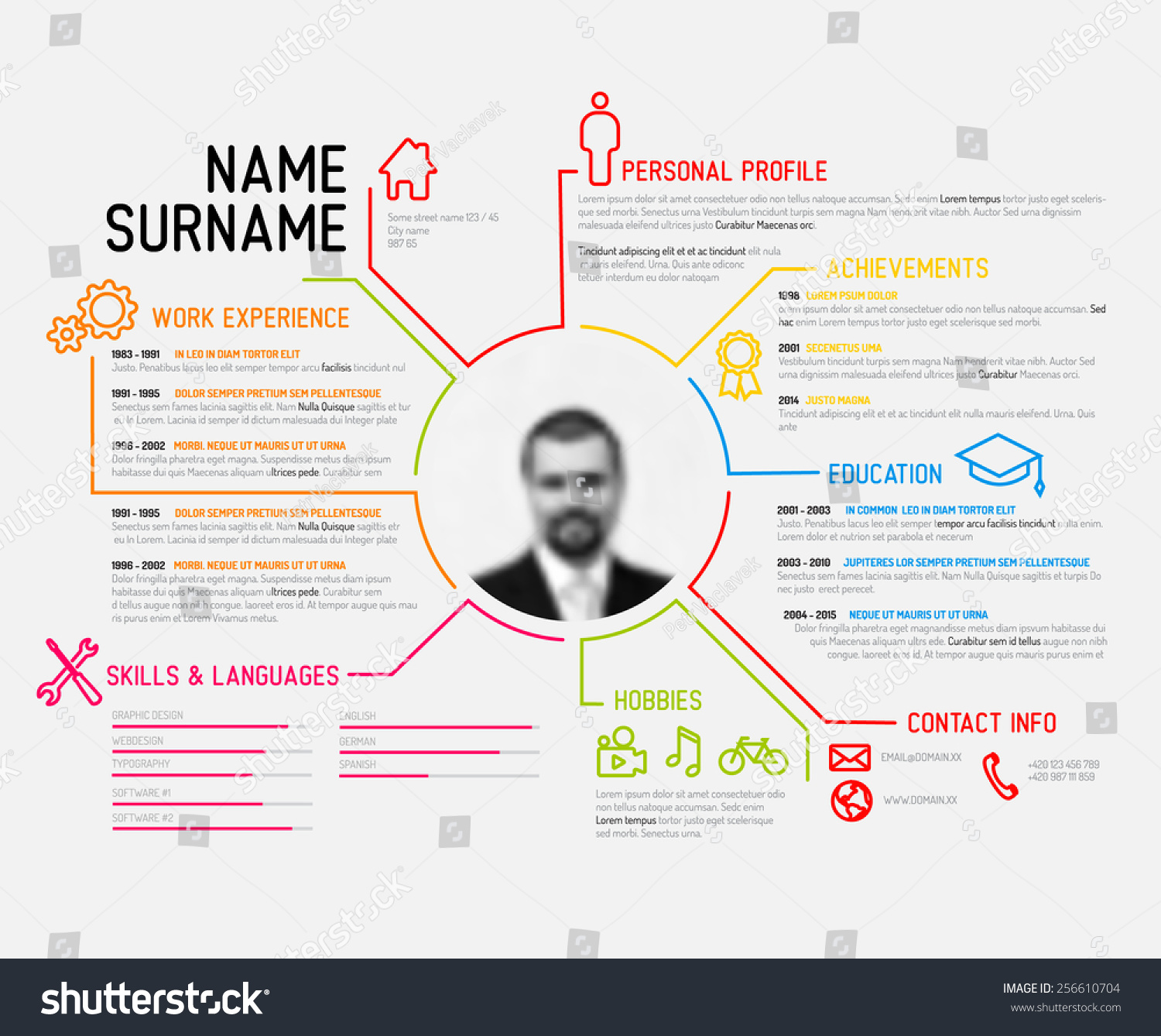 vector original minimalist cv resume template stock vector 256610704