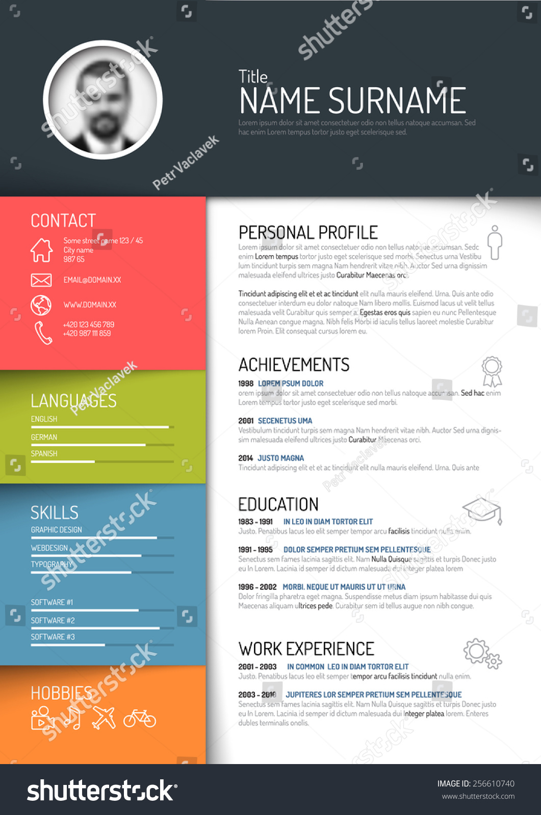 vector minimalist cv resume template dark color version - Resume Template Color