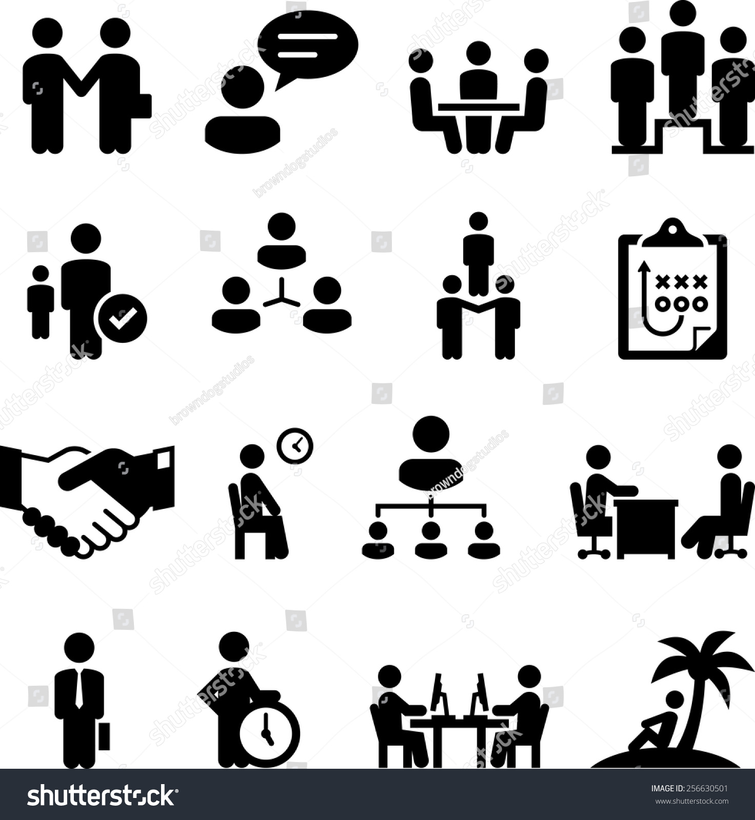 Our Work View Our Digital Print Web Projects: Employment Human Resources Work Related Icons Stock Vector
