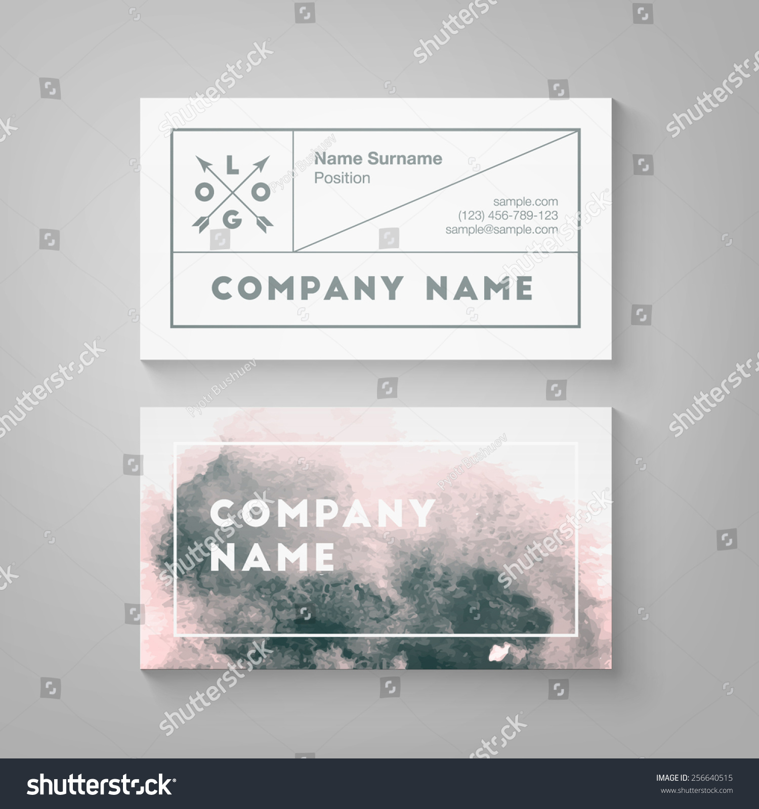 Trendy Watercolor Business Card Template High Stock Vector