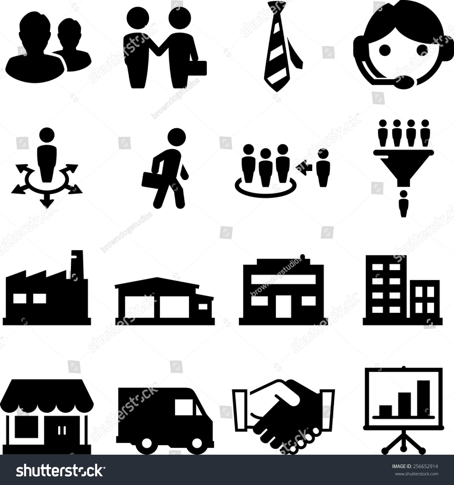 Sales Distribution Channel Icon Set Vector Stock Vector ...