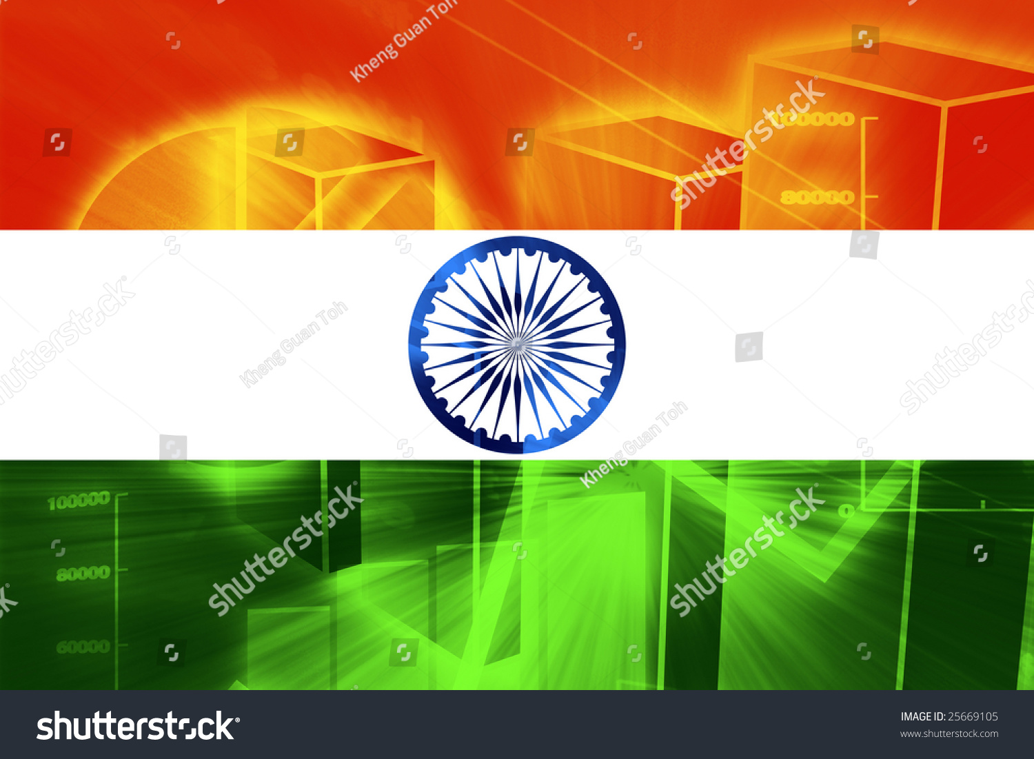 India Country Flag: Flag India National Country Symbol Illustration Stock