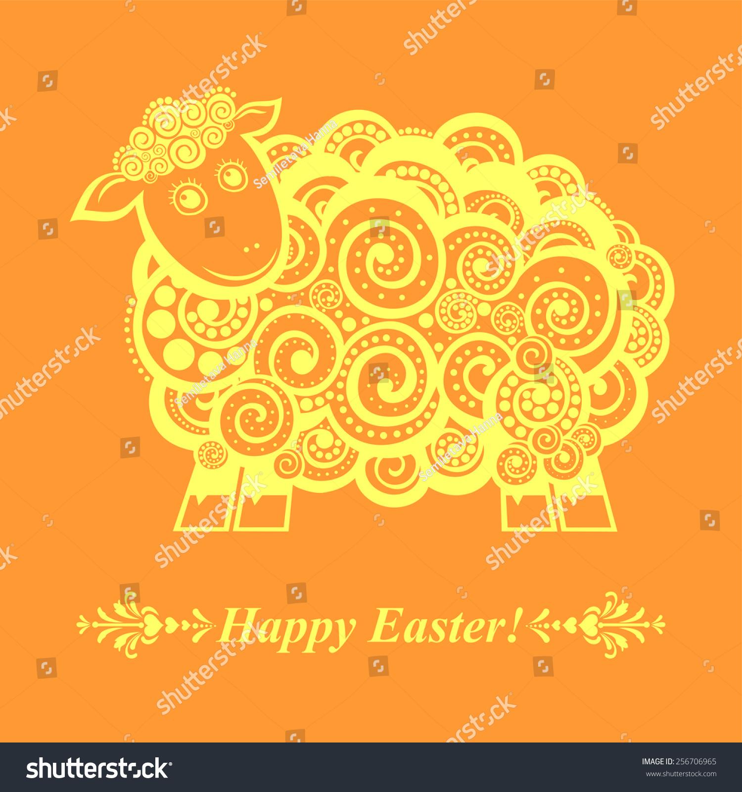Vintage Easter Card Sheep Vector Illustration