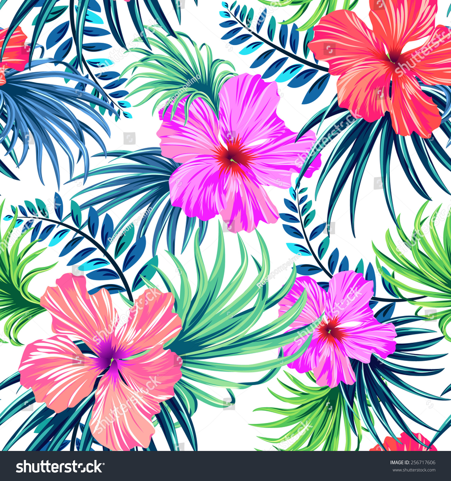 Seamless Tropical Floral Pattern Hibiscus Palm Stock Illustration