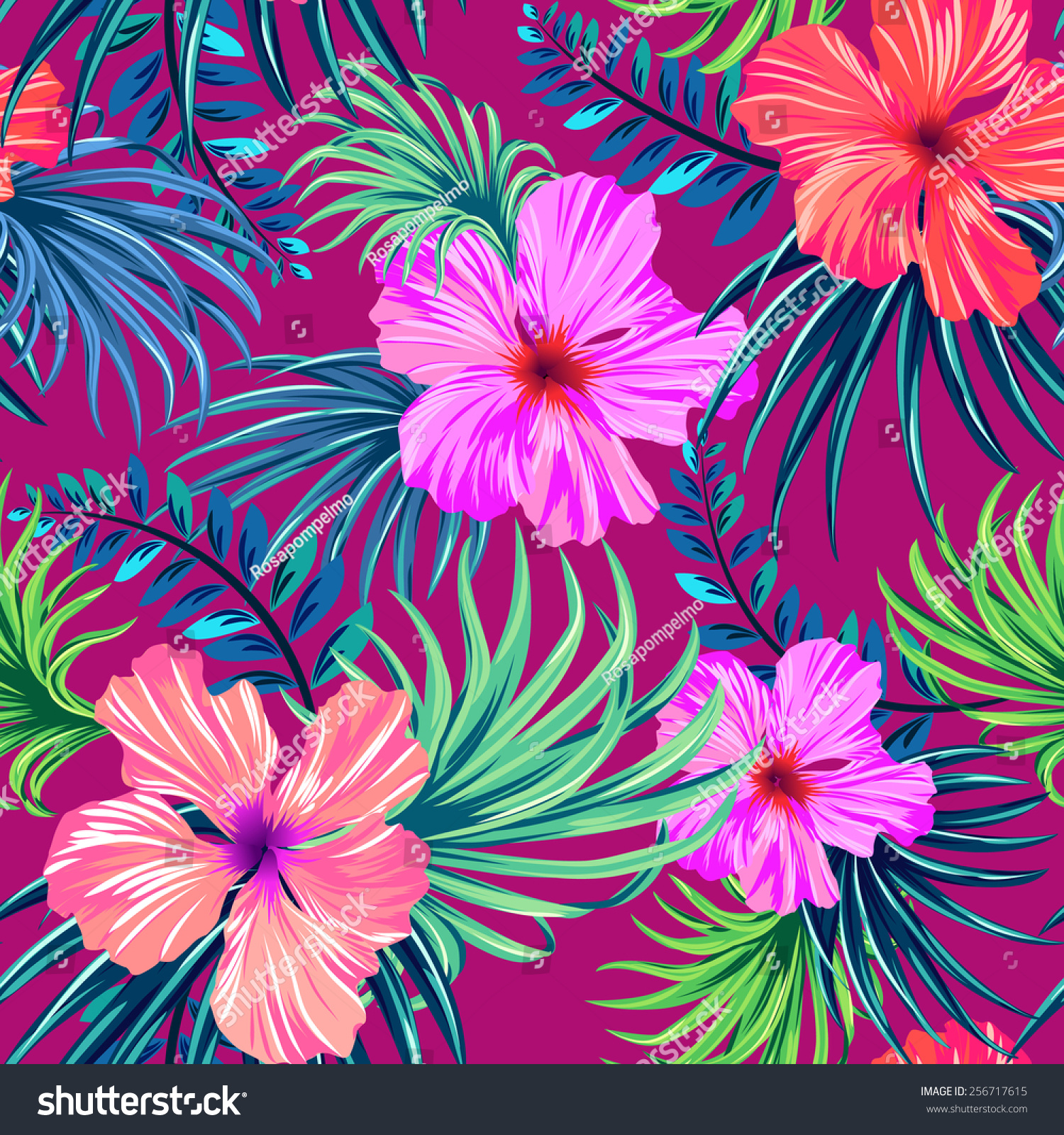 Royalty free vector seamless tropical pattern 256717615 stock vector seamless tropical pattern hibiscus and palm leaves in classic vintage hawaiian design colorful beautiful island flowers stock photo izmirmasajfo