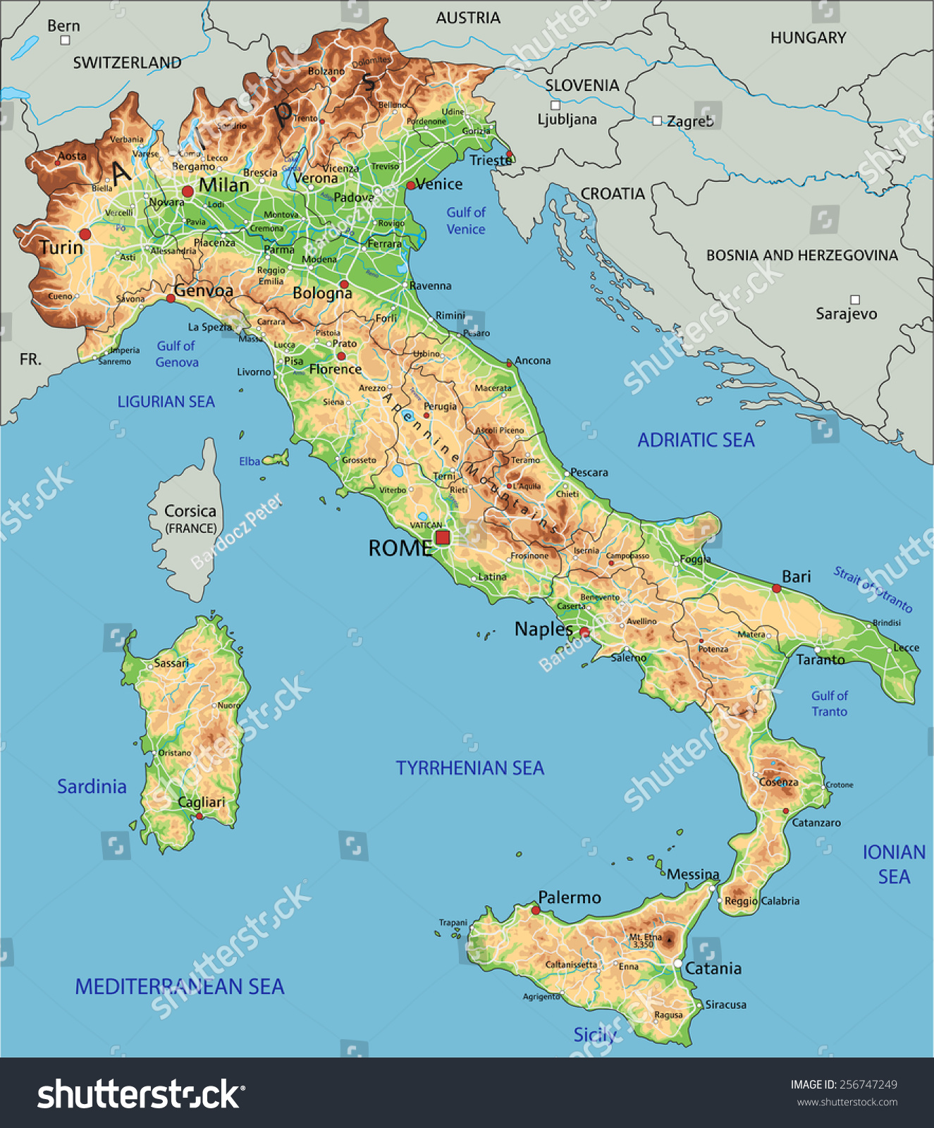 High Detailed Italy Physical Map Labeling Stock Vector - Physical map of austria