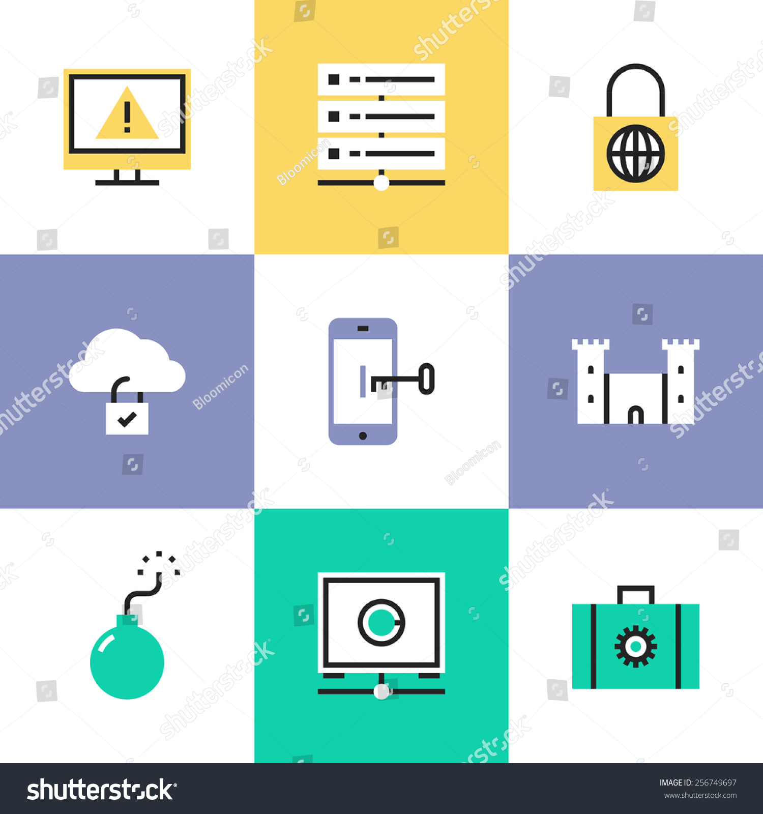Flat Line Icons Cloud Data Protection Stock Vector ...