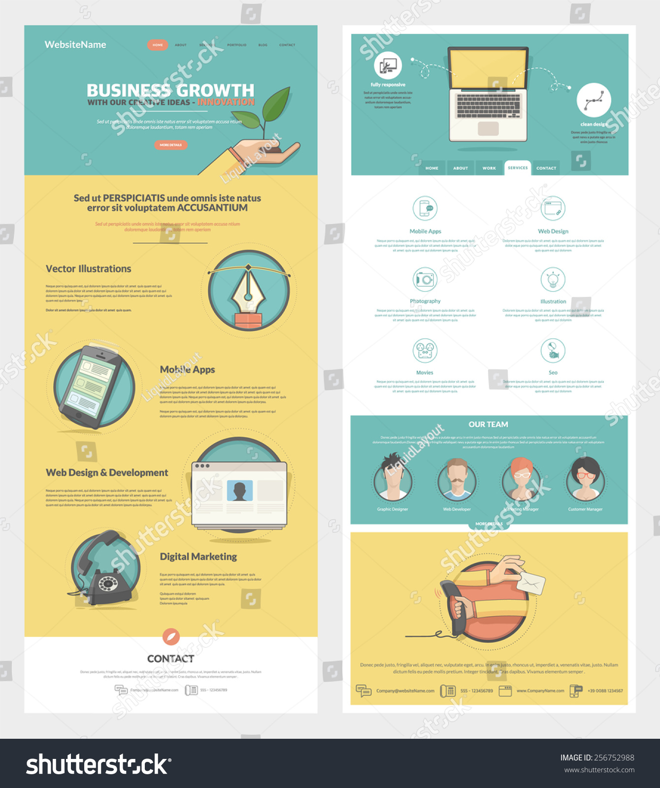 two page website design template concept 256752988 shutterstock. Black Bedroom Furniture Sets. Home Design Ideas