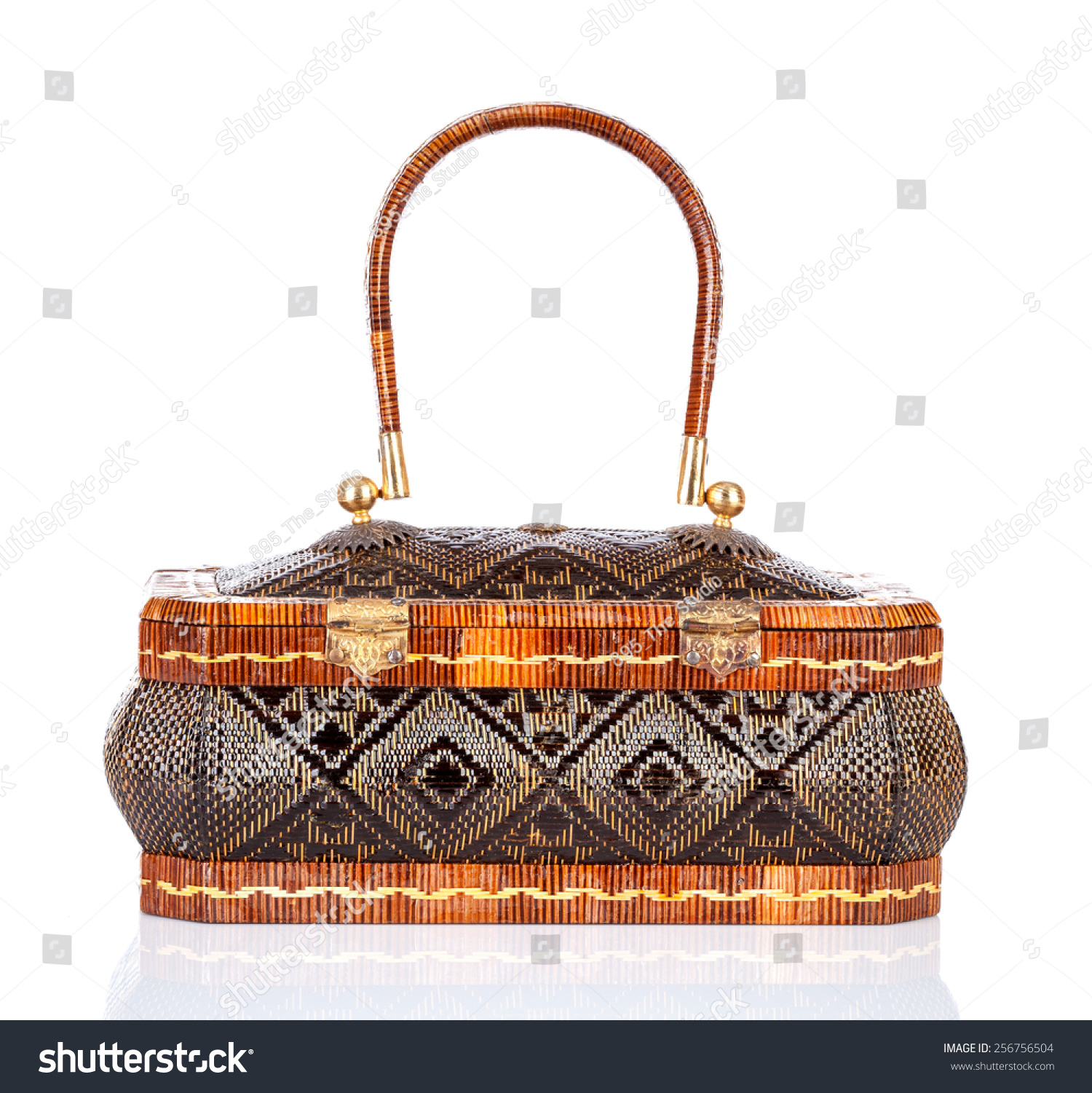 Handicraft Basketry : Thai handicraft elegance woman basketry on white