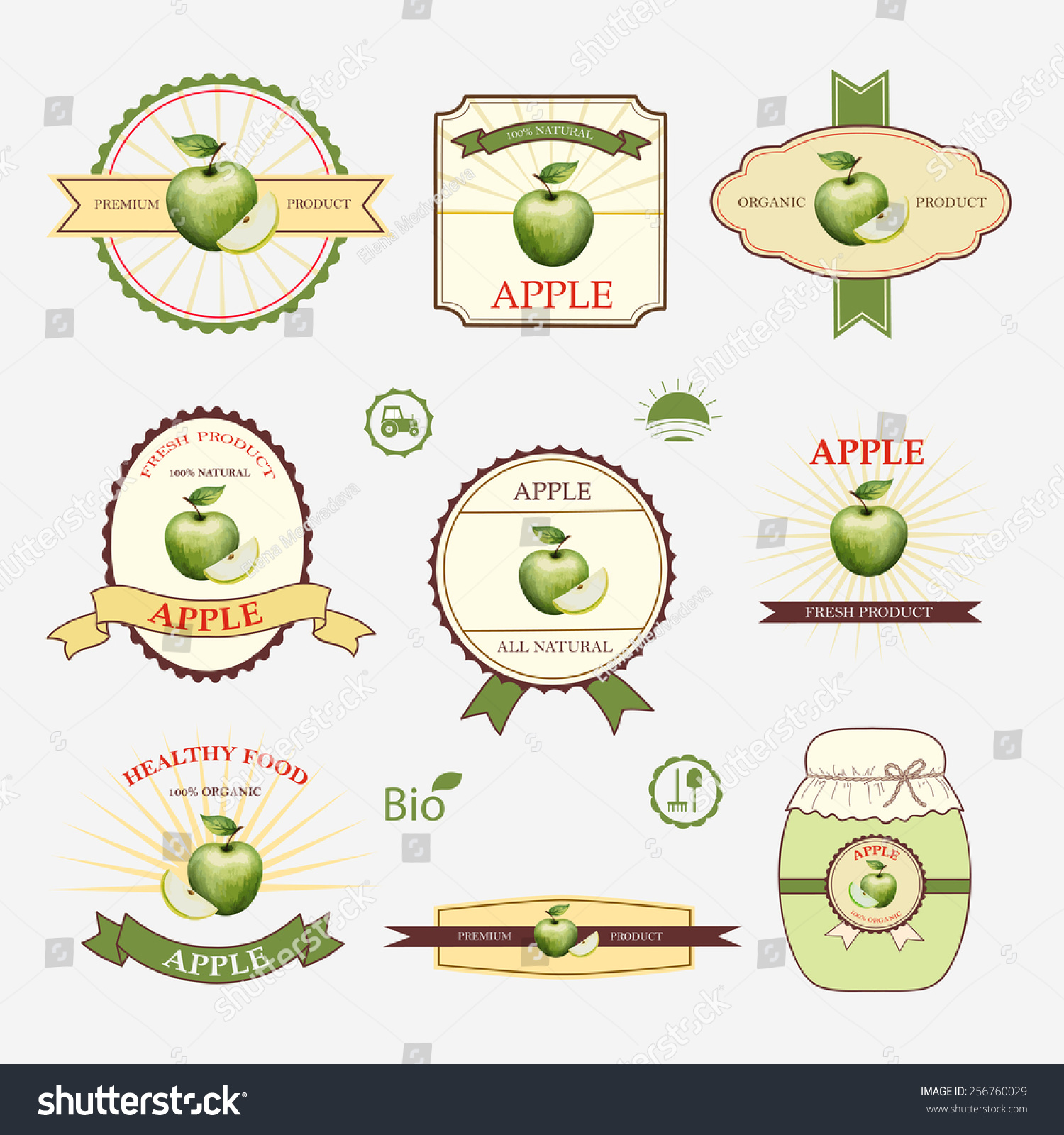 Apple Green Set Label Design Templates Stock Vector 256760029 .  Label Design Templates
