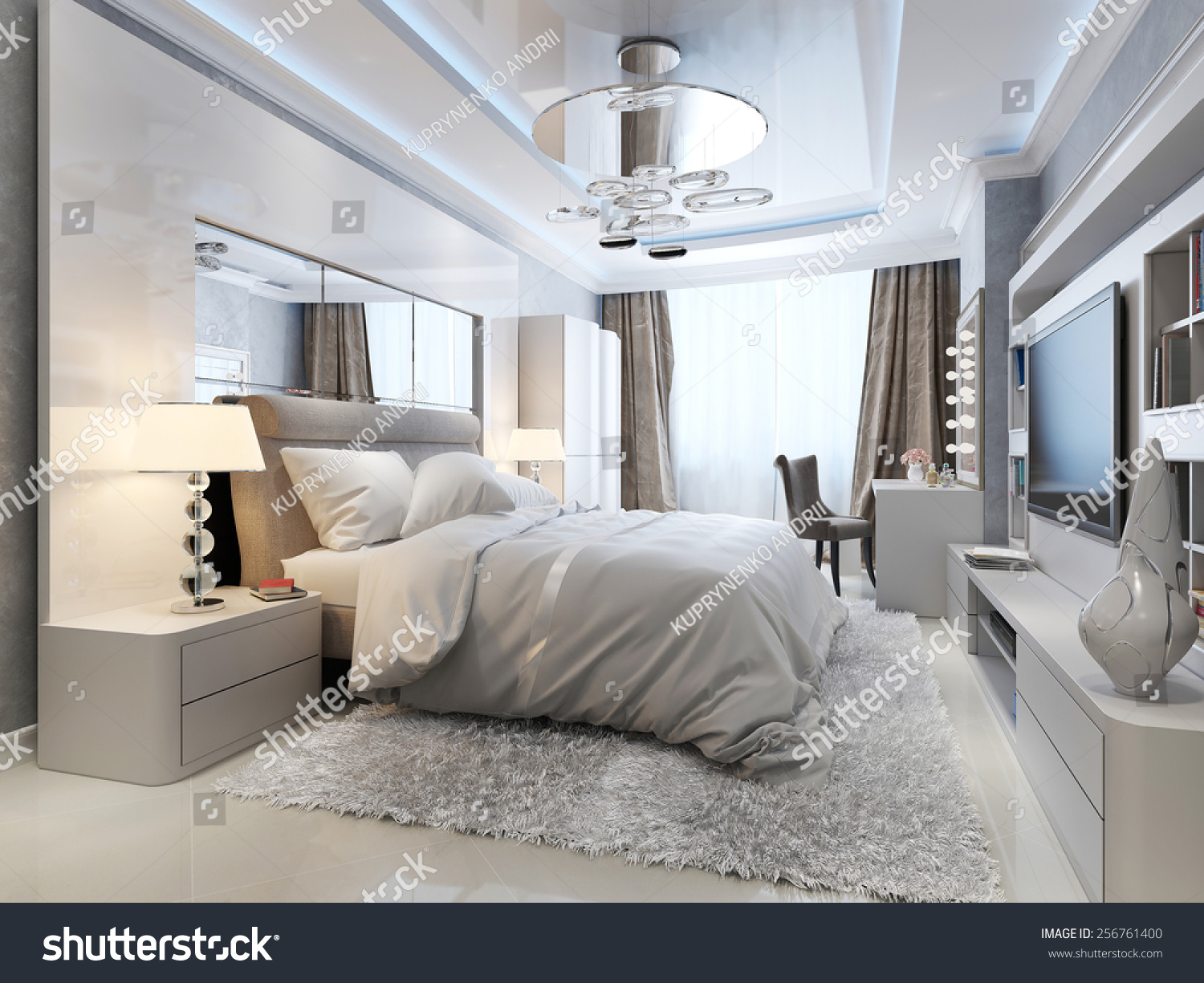 Luxury Bedroom Interior Luxury Bedroom Interior 3d Picture Stock Photo 256761400