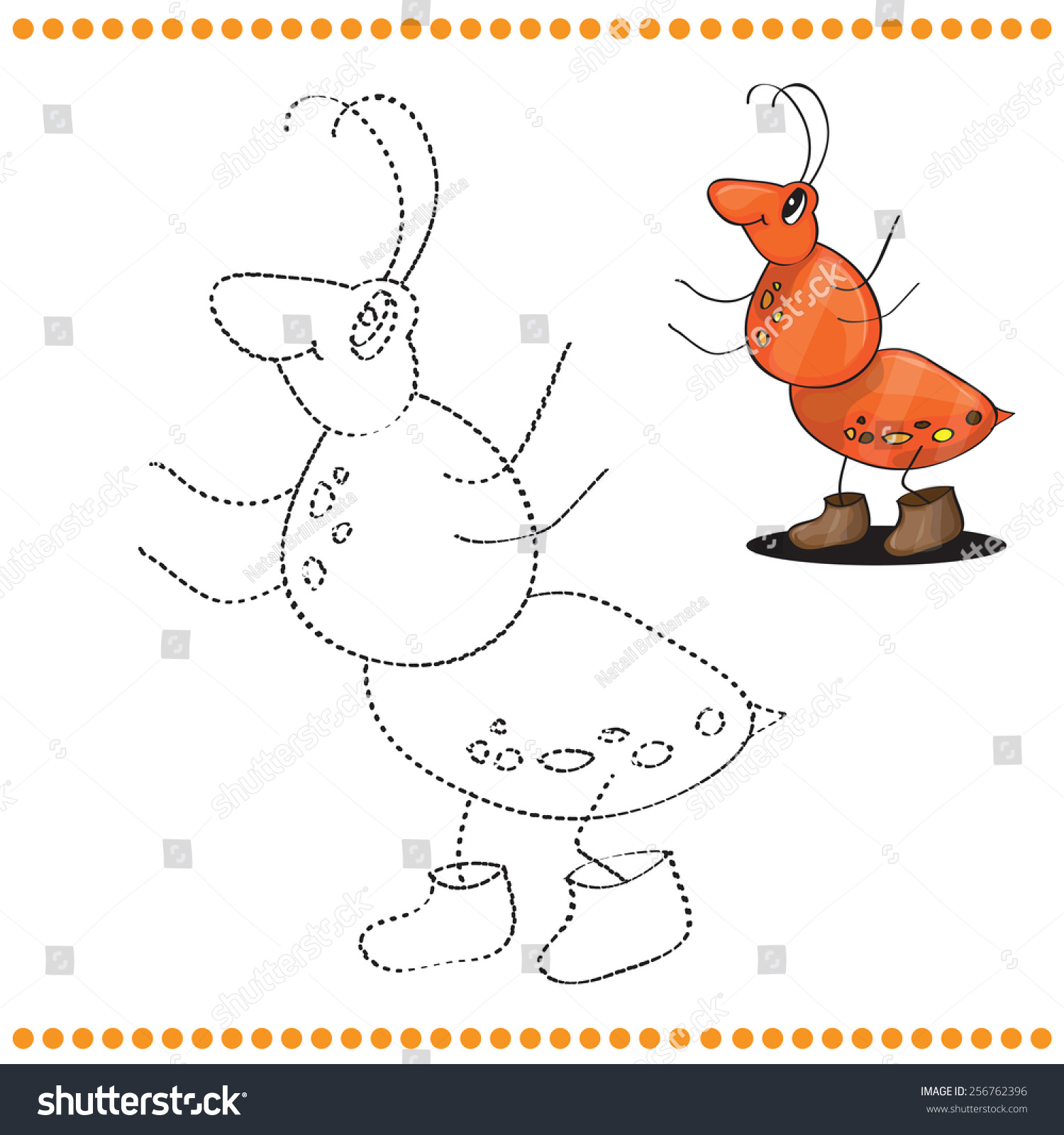 Connect Dots Coloring Page Ant Cartoon Stock Vector 256762396