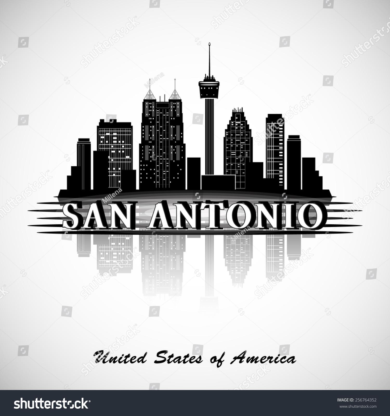 San Antonio Texas City Skyline Silhouette Stock Vector Illustration