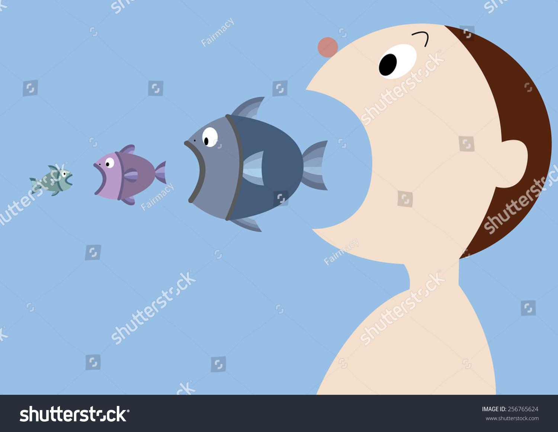 Human eat big fish big fish stock vector 256765624 for Big fish eat small fish