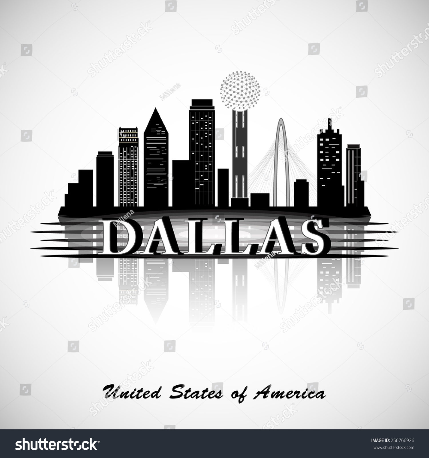 dallas silhouette cities skyline stock vector royalty free