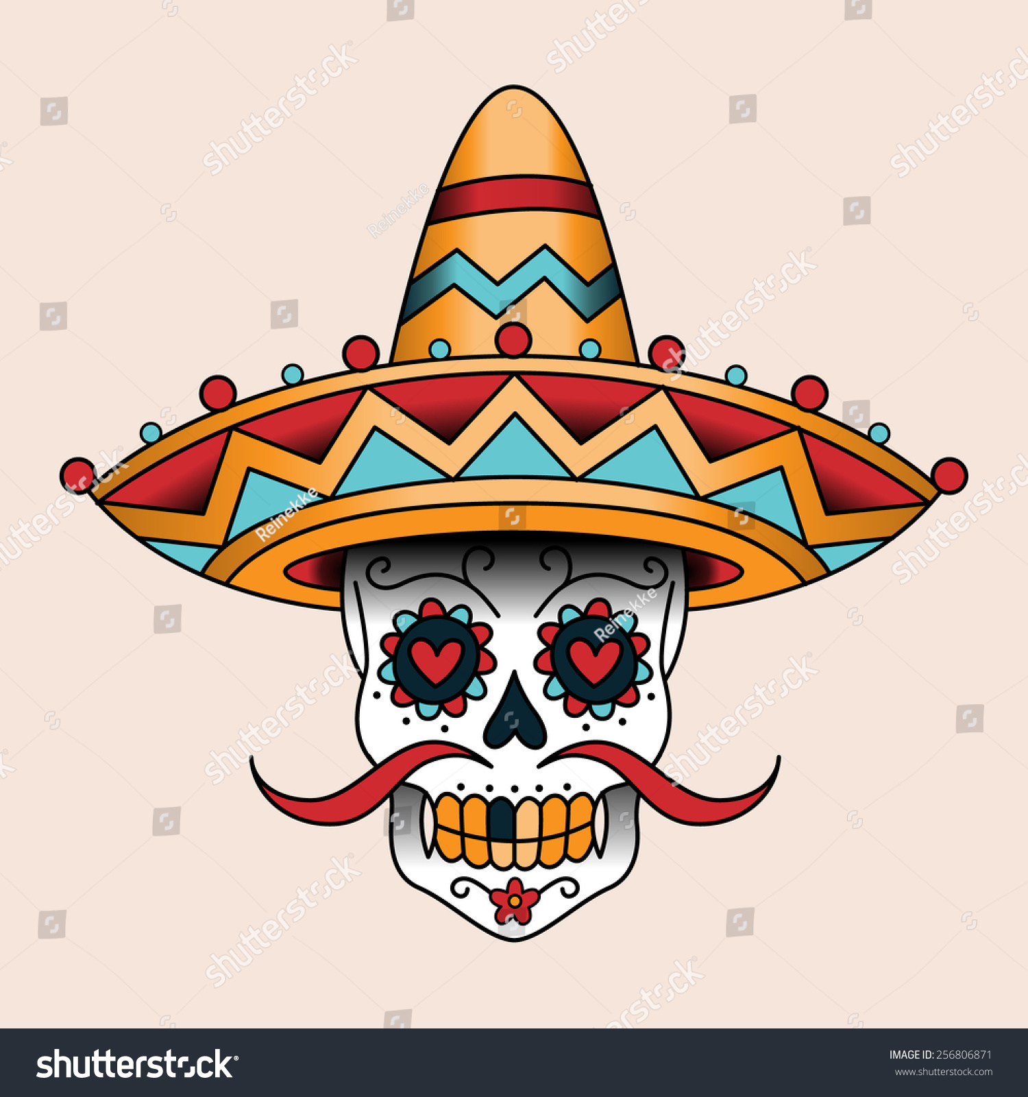 mexican sugar scull sombrero traditional style stock vector 256806871 shutterstock. Black Bedroom Furniture Sets. Home Design Ideas