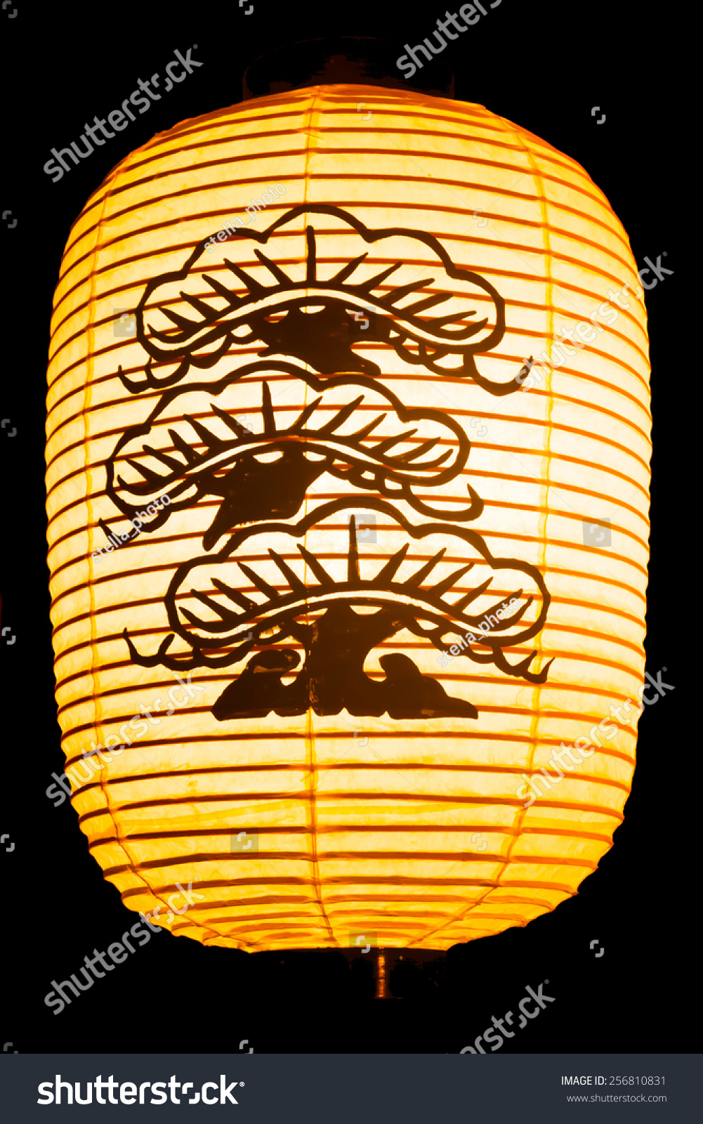 Japanese Paper Lantern Pine Tree Painted Stock Photo Edit Now 256810831