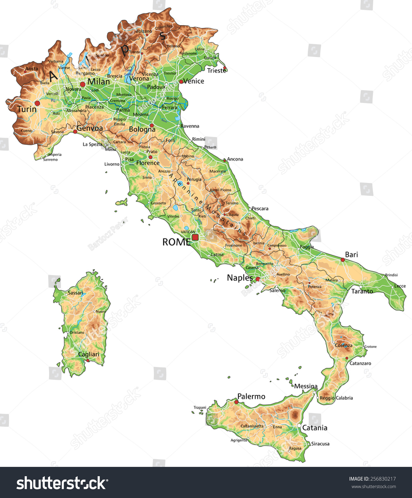 High Detailed Italy Physical Map Labeling Stock Vector 2018
