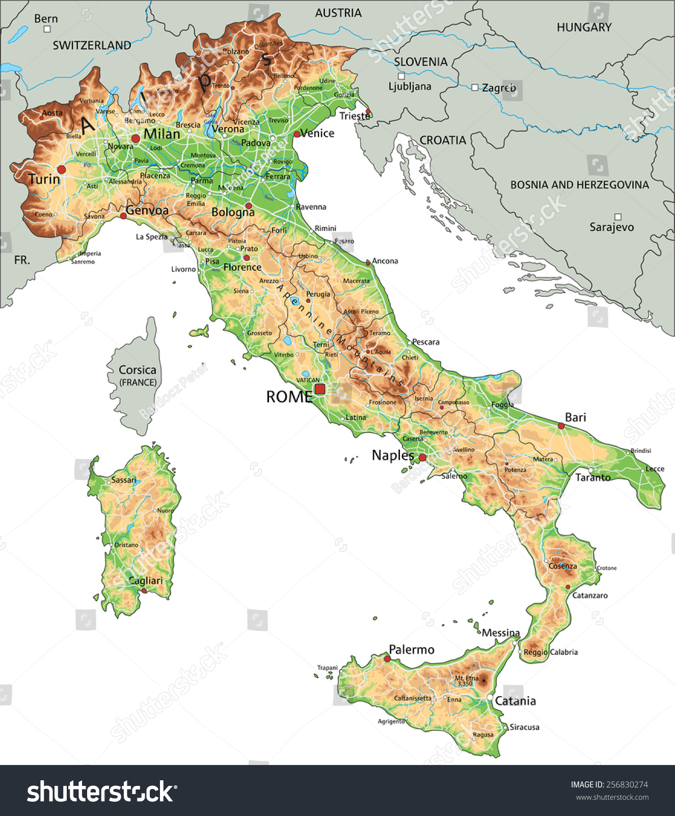 High Detailed Italy Physical Map Labeling Stock Vector - Map of italy physical