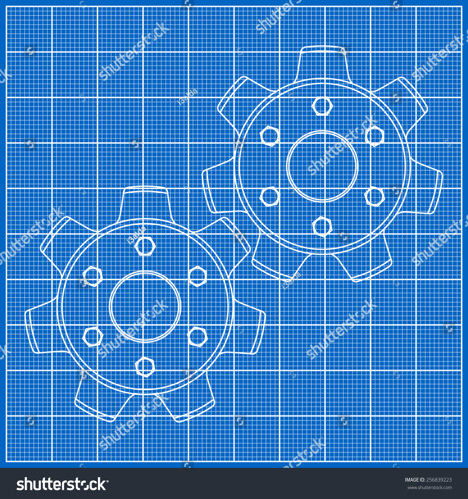 Cogs gears on blueprint paper vector stock vector 256839223 cogs gears on blueprint paper vector illustration malvernweather Choice Image