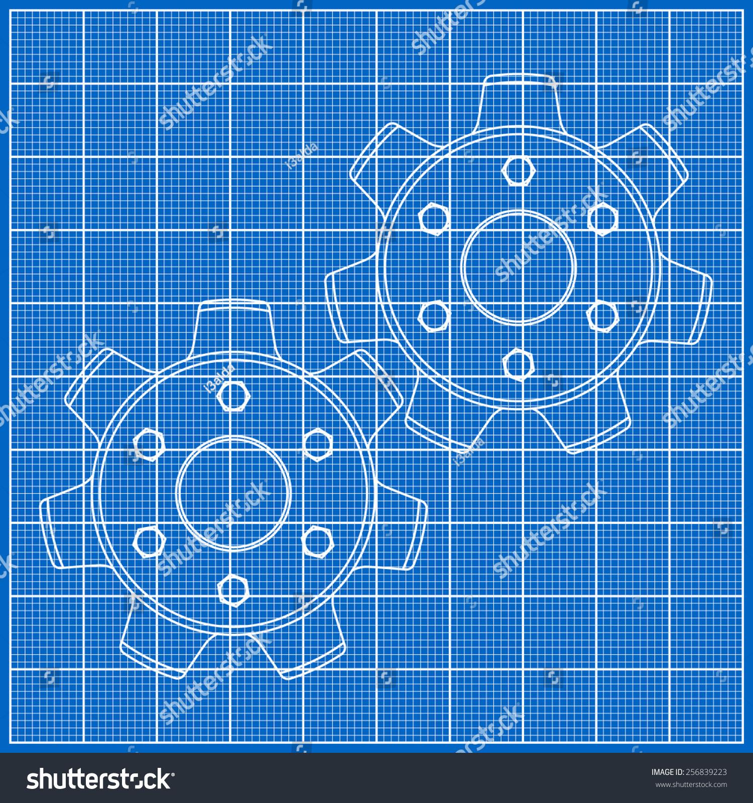 Cogs gears on blueprint paper vector stock photo photo vector cogs gears on blueprint paper vector illustration malvernweather Gallery