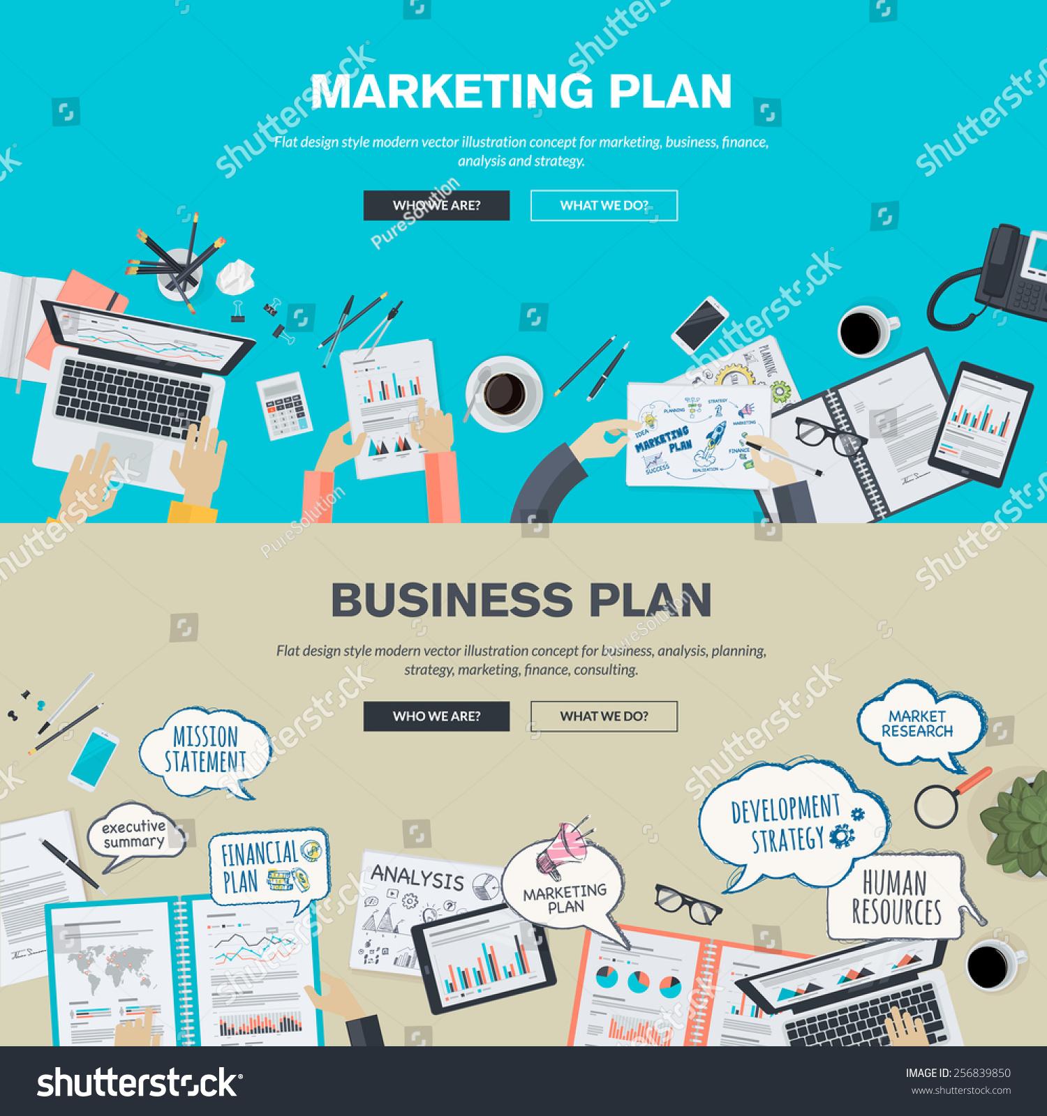 Set Flat Design Illustration Concepts Business Stock