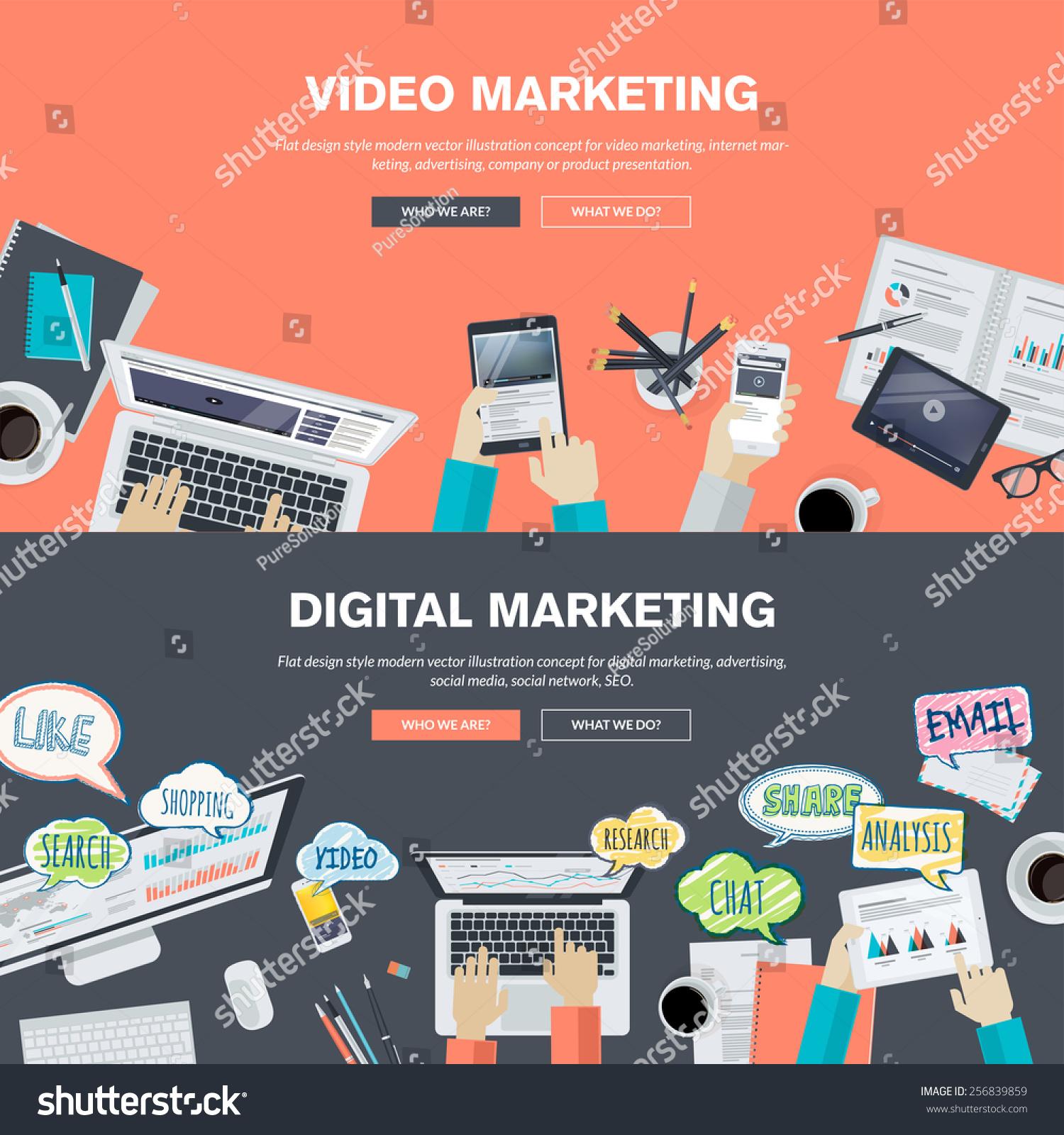 Set flat design illustration concepts video stock vector for Digital marketing materials