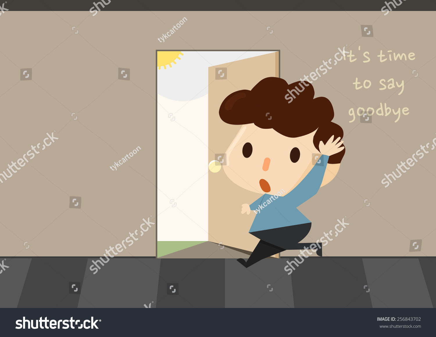 cartoon style character saying goodbye a man quitting. Black Bedroom Furniture Sets. Home Design Ideas