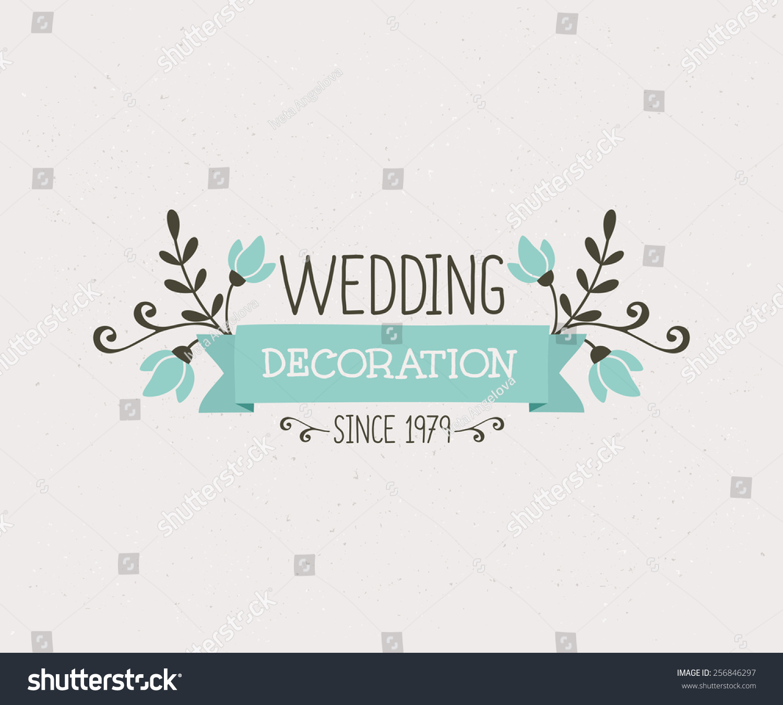 Floral Wedding Decoration Design Cute Elegant Stock Vector