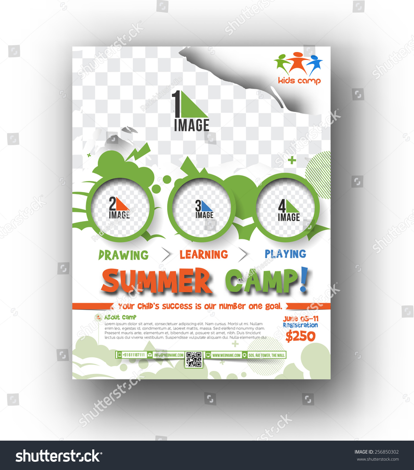 summer camp flyer poster template stock vector 256850302 shutterstock. Black Bedroom Furniture Sets. Home Design Ideas