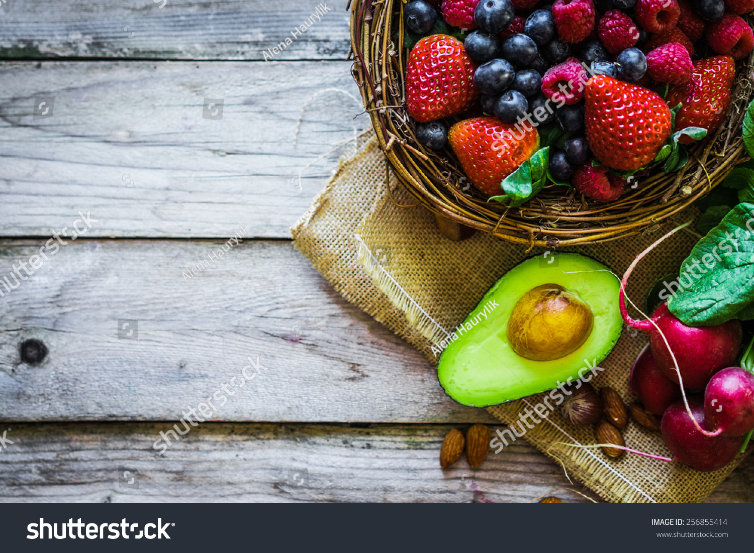 Fruits And Vegetables On Rustic Background Stock Photo ...