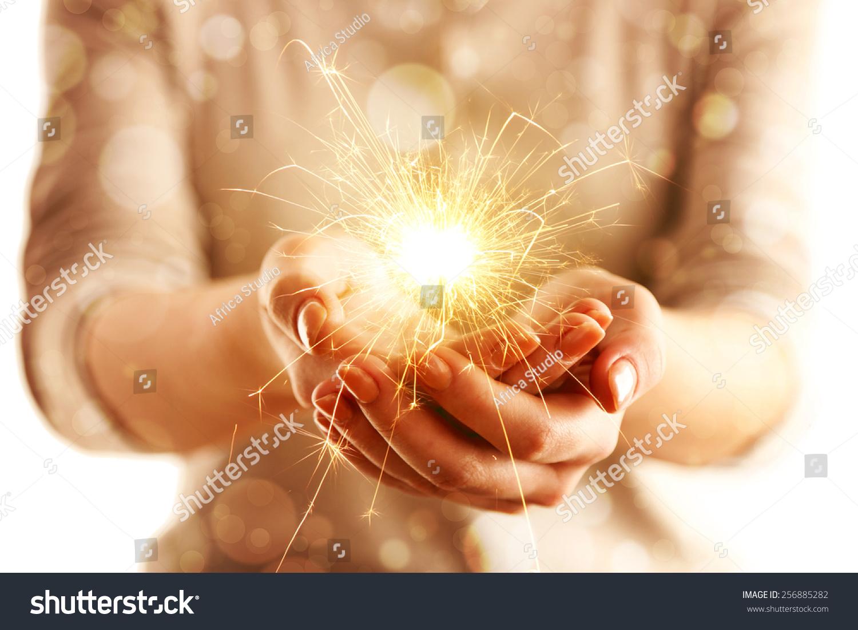 Hands Sparkler Light Isolated On White Stock Photo ...