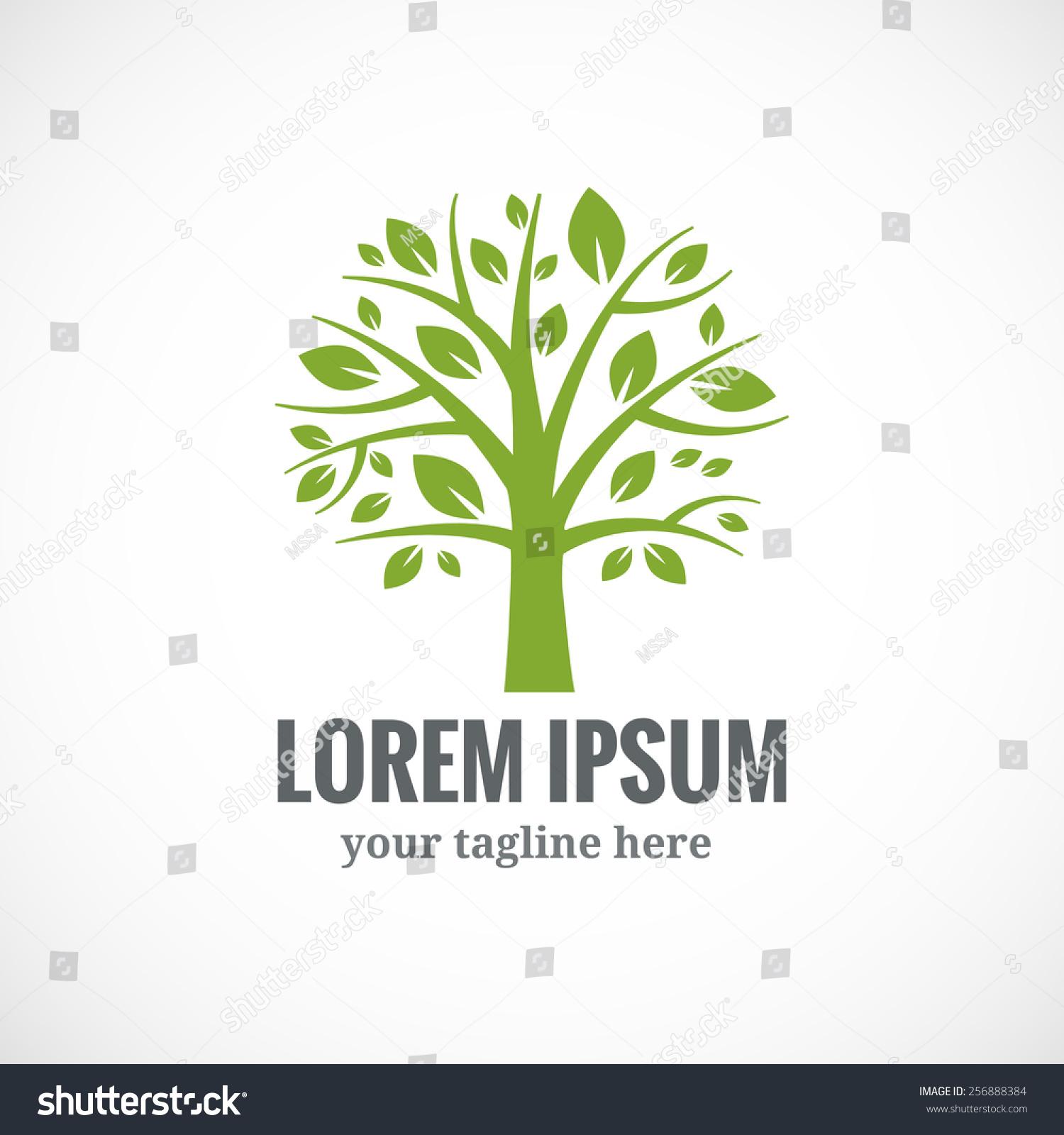 Green Tree Vector Logo Design Template Stock Vector 256888384 ...