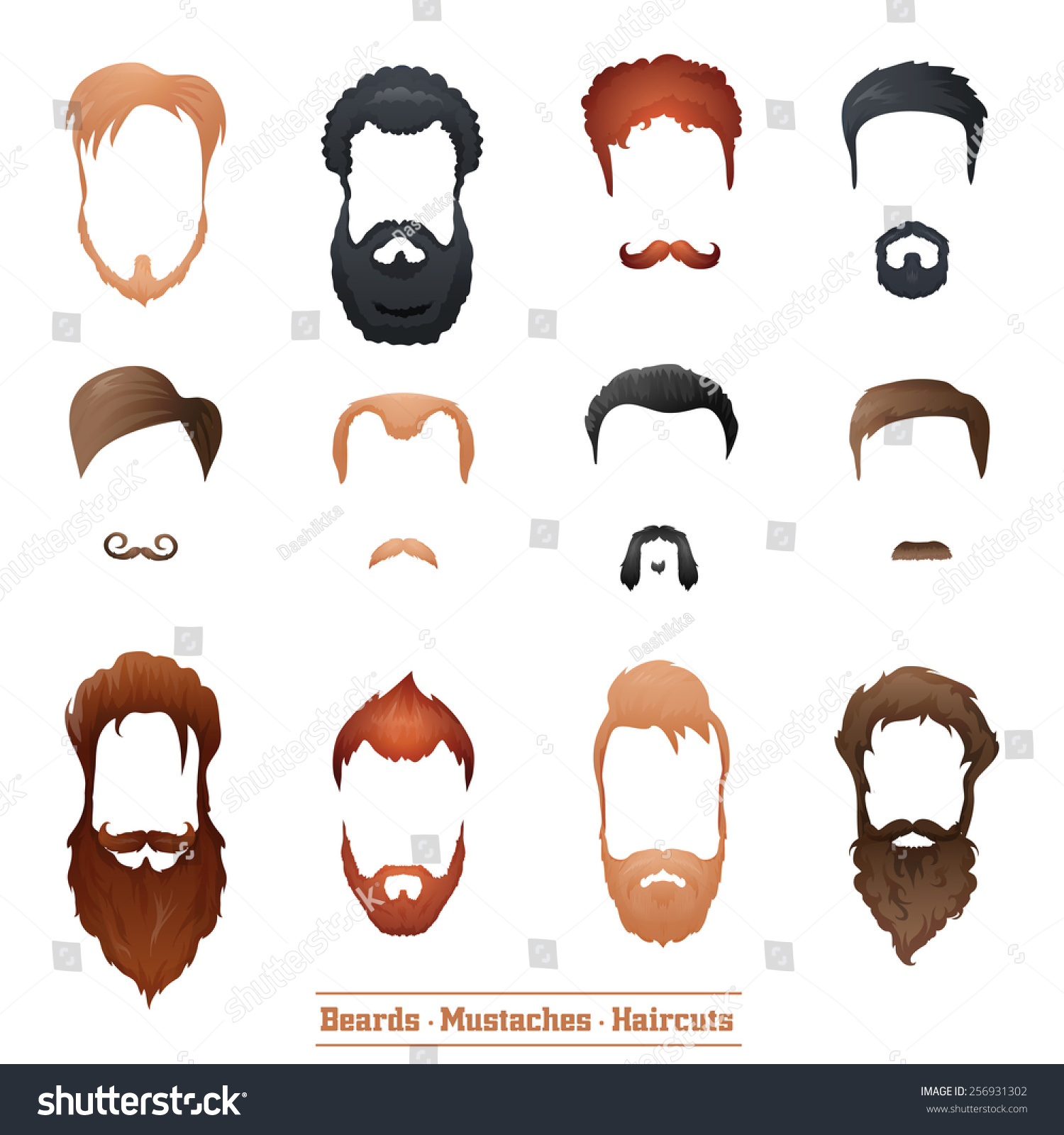 Beards Mustaches Hairstyles Set Different Types Stock