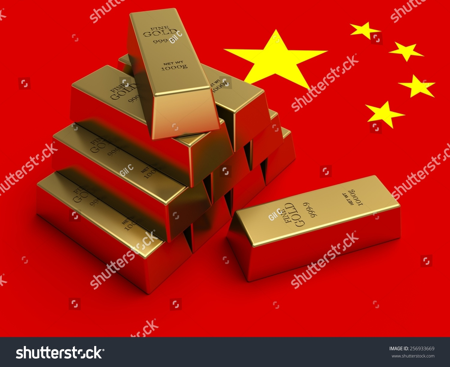 gold bars on top china flag stock illustration 256933669