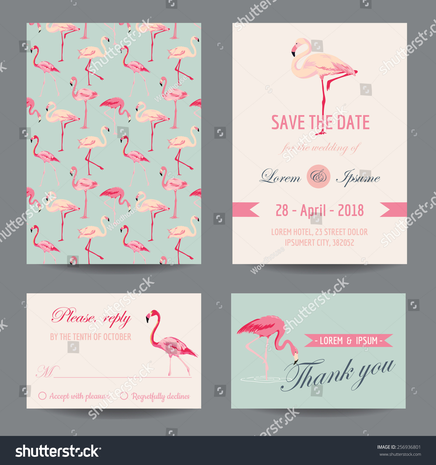 Beach Theme Card Stock: Invitationcongratulation Card Set Flamingo Theme Vector