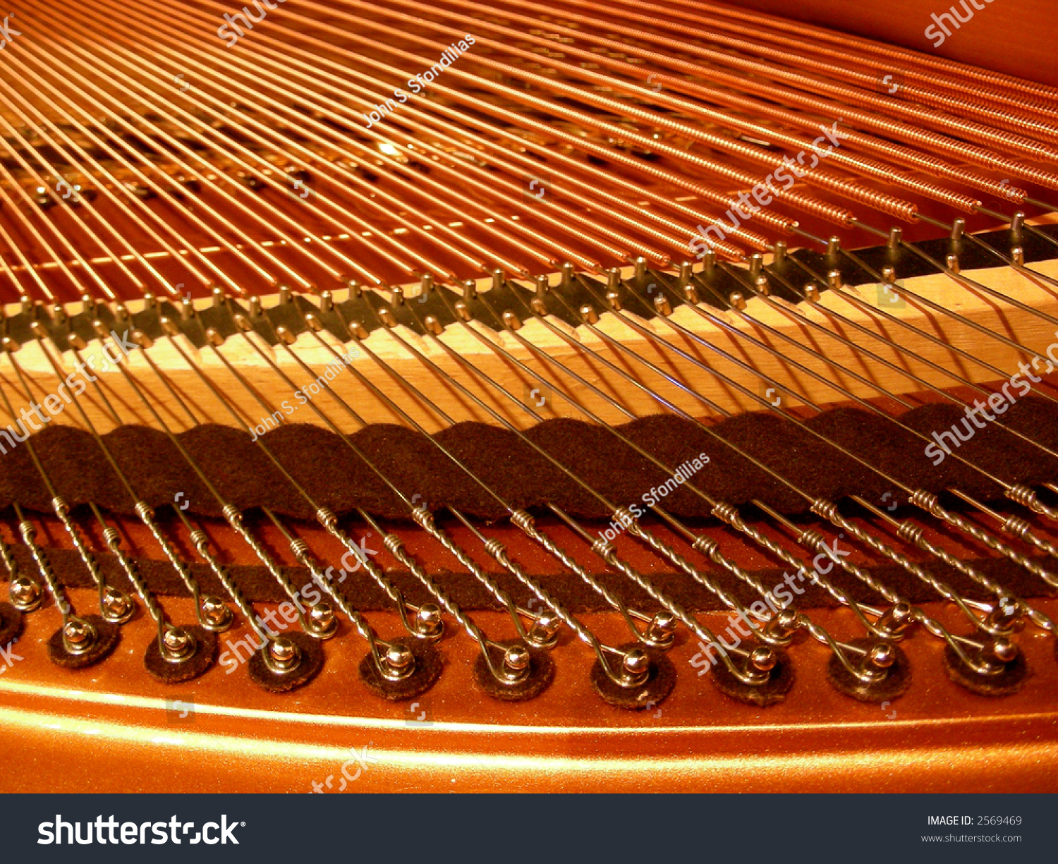Strings And Inner Workings Of A Baby Grand Piano Stock