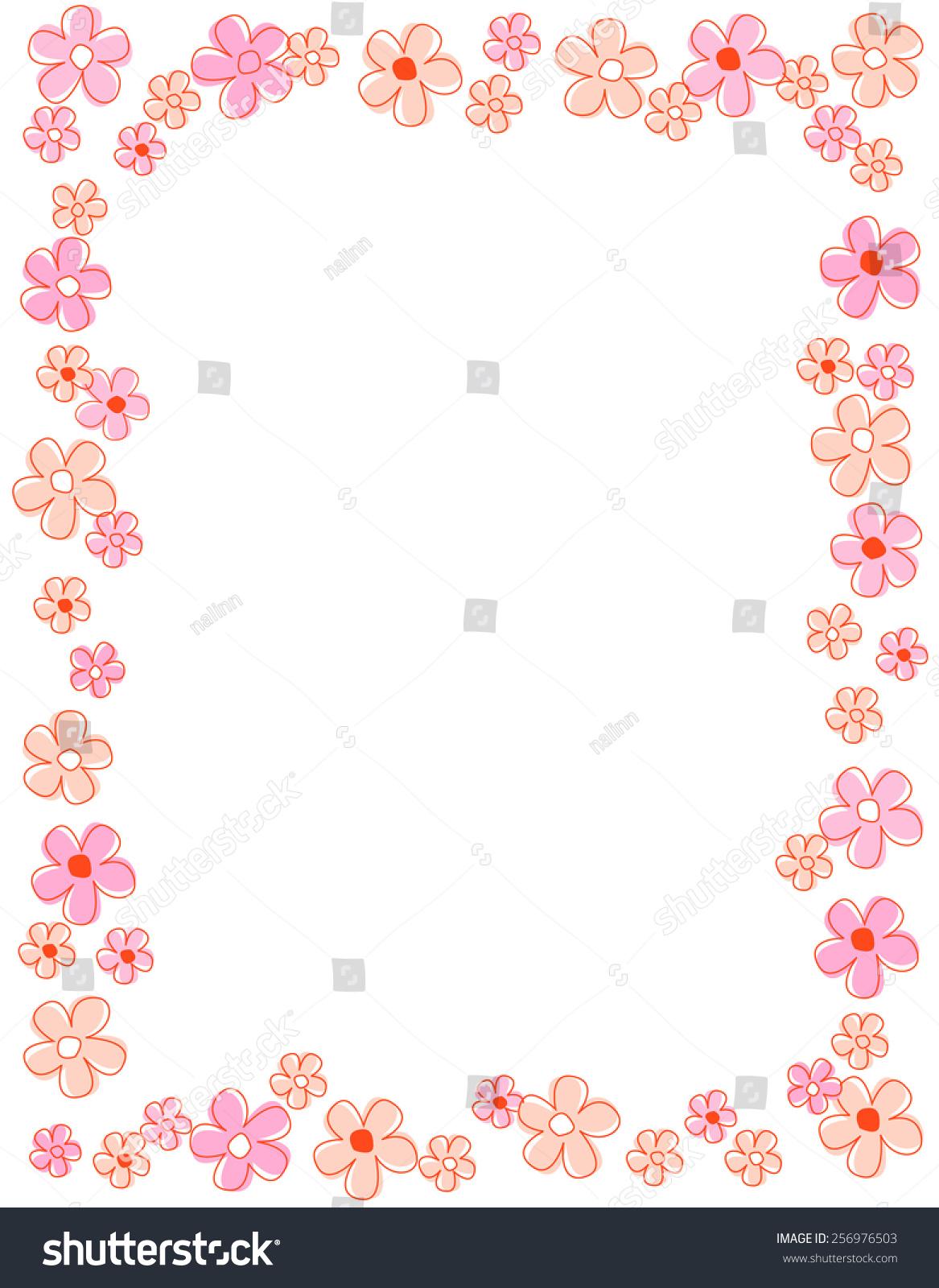 Colorful Spring Flowers Border Frame Stock Vektorgrafik Lizenzfrei