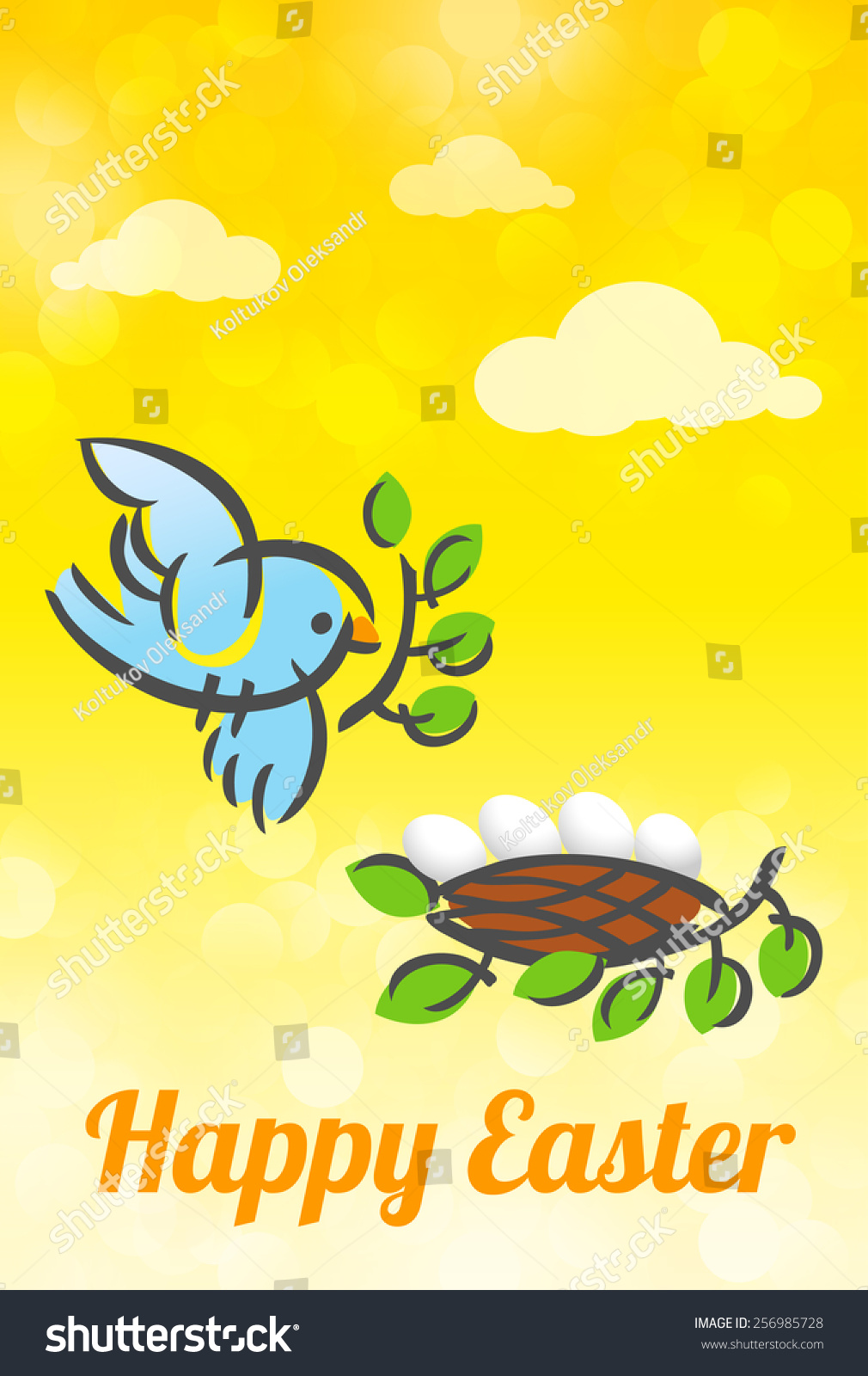 Happy easter vector card holy week stock vector 256985728 shutterstock happy easter vector card holy week greetings flying animated mother bird and eggs in m4hsunfo