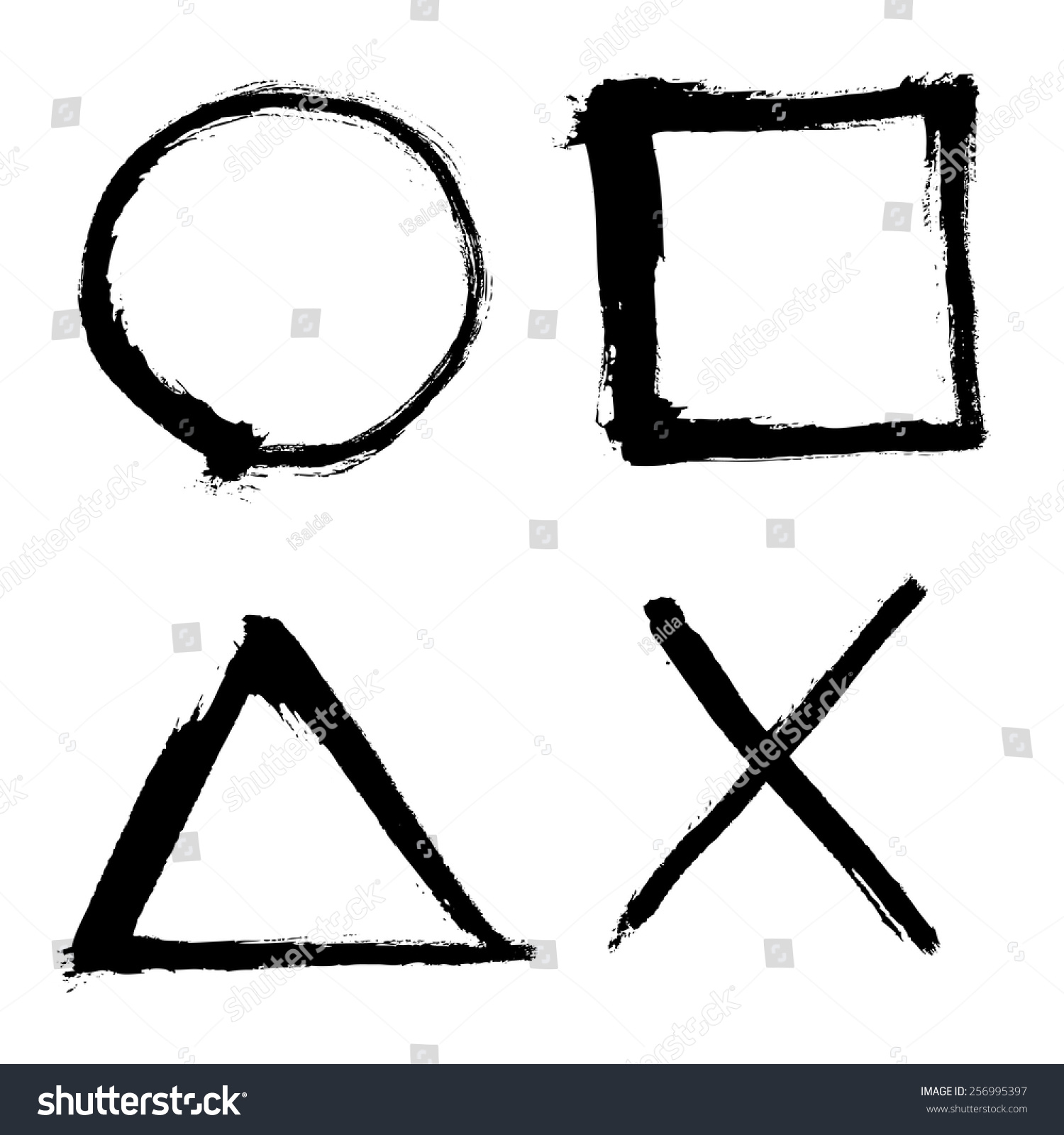 Outlined Square Circle Triangle Elements Stock Photo Photo Vector