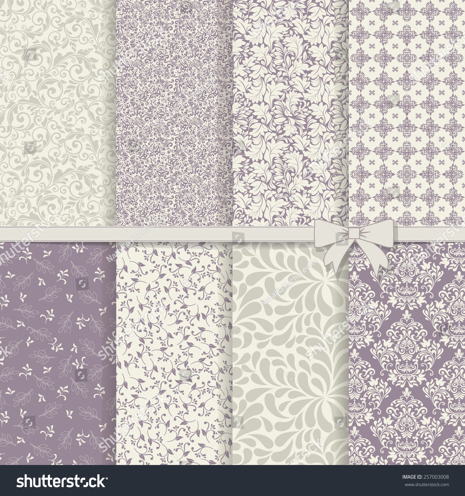 set of seamless damask patterns in violet and grey