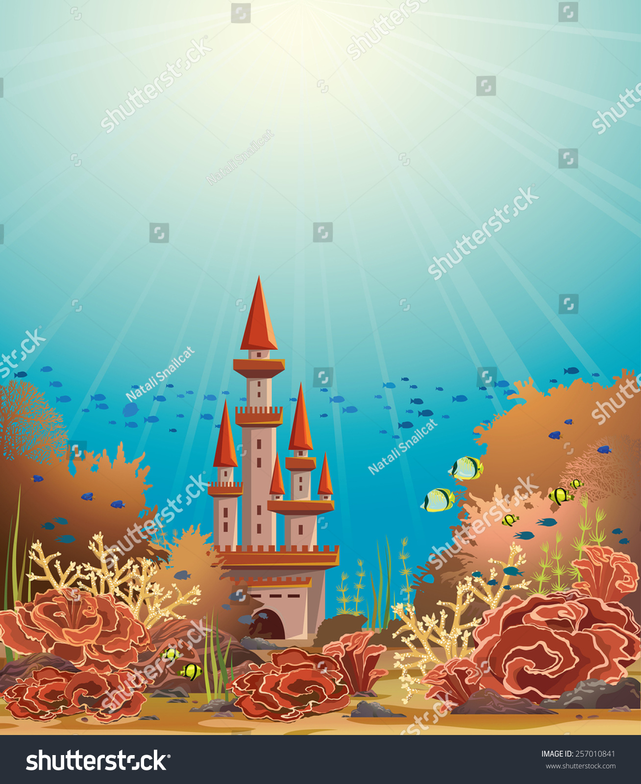Underwater Castle And Colorful Coral Reef With Tropical