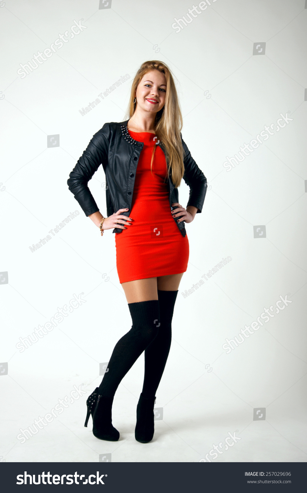 Pretty Young Blond Woman Model Wearing Stock Photo ...