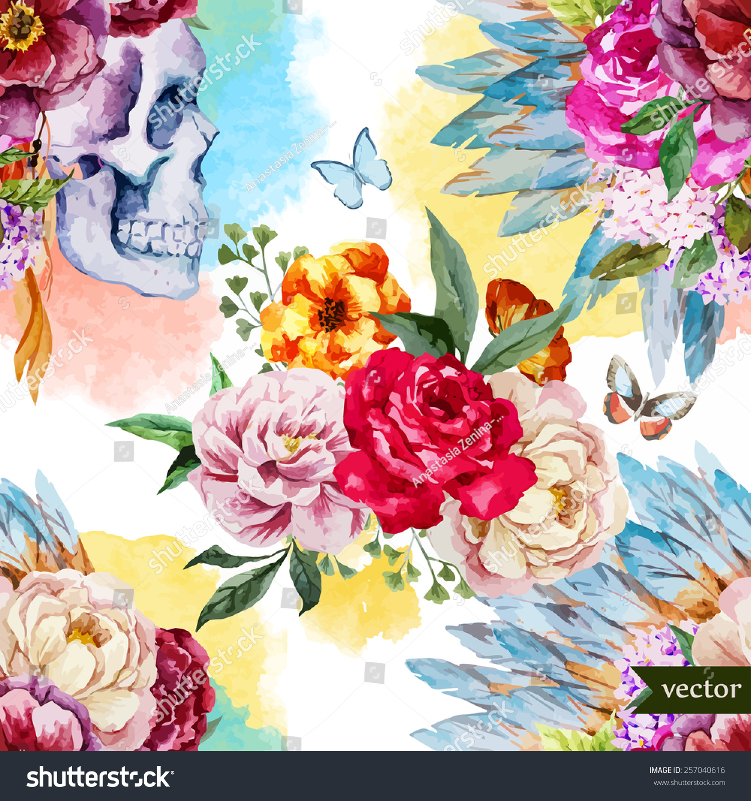 Watercolor Skull Flowers Indian Bohopattern Wallpaper Stock Vector