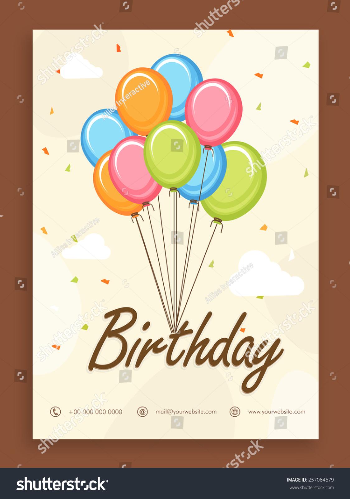 Birthday Celebration Beautiful Invitation Card Design Stock Vector ...