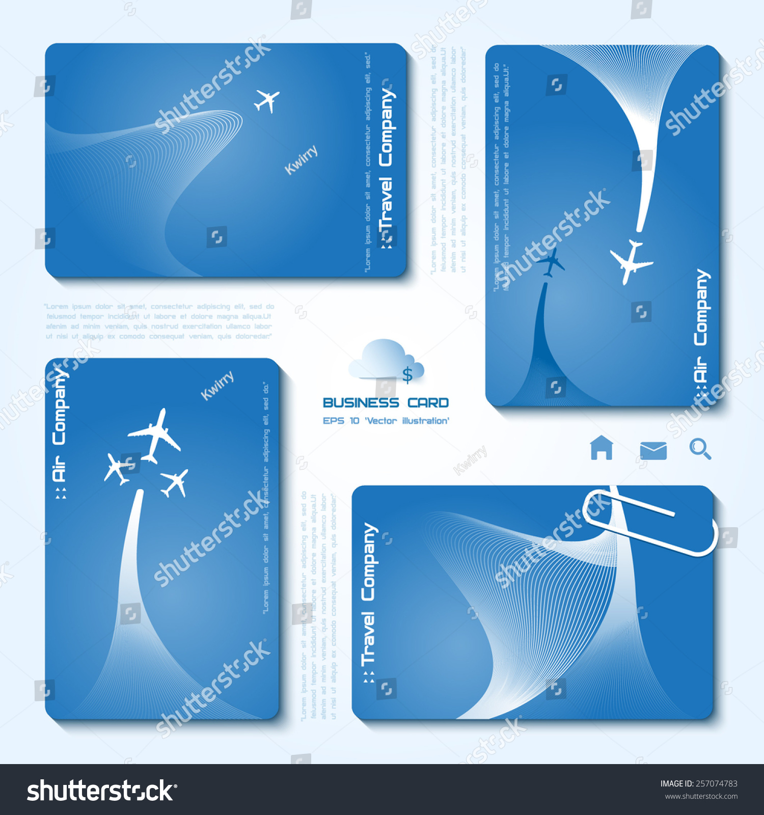 Vector Set Air Company Business Cards Stock Vector 257074783 ...