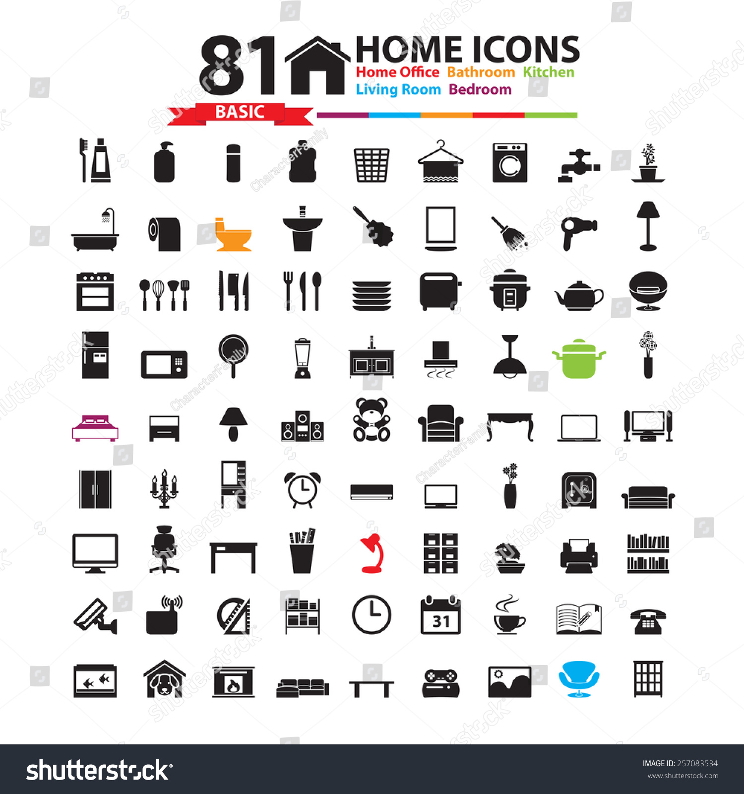 furniture home decor icon set stock vector 257083534 shutterstock