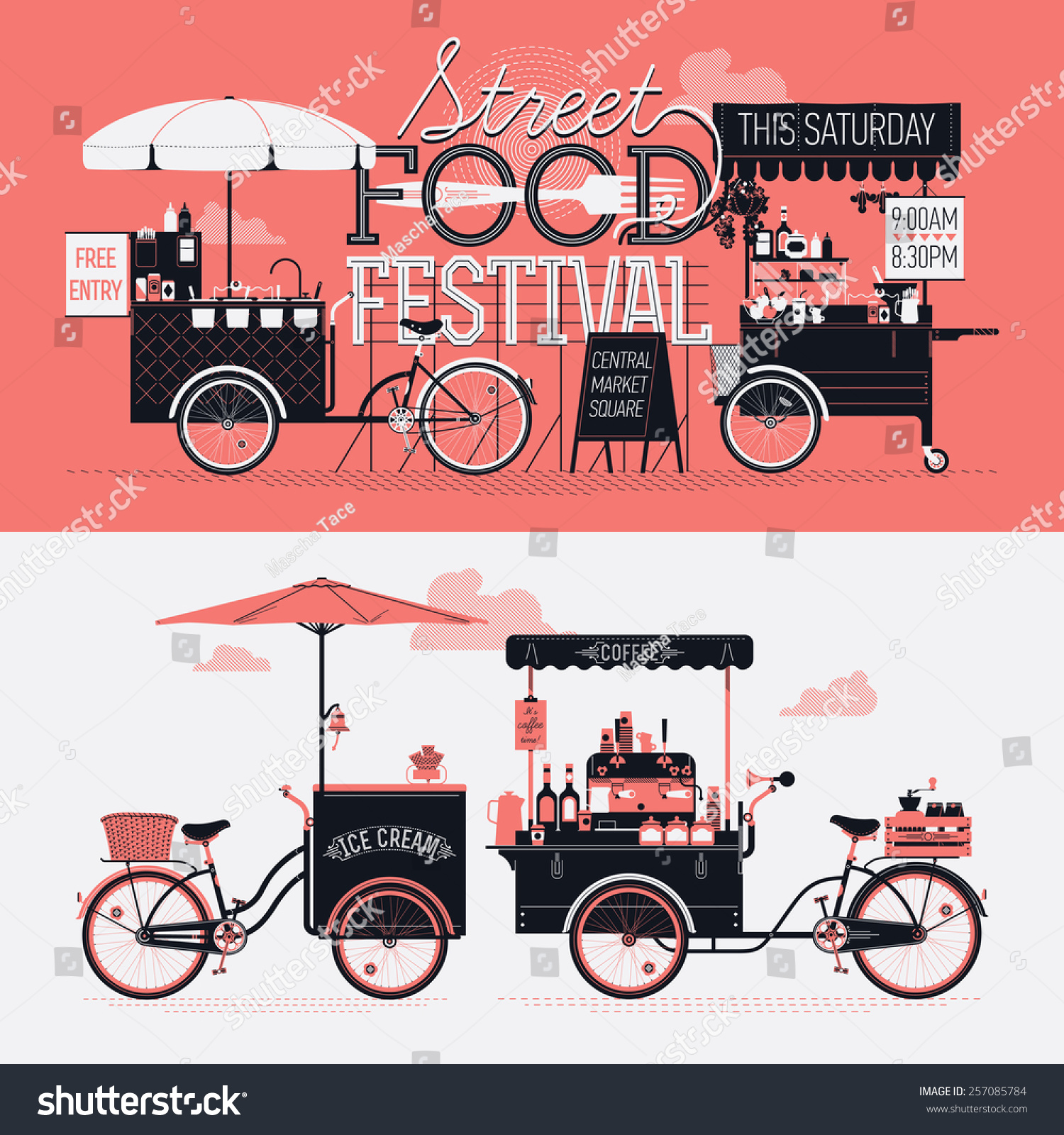 Poster design elements - Street Food Festival Event Vector Graphic Poster Flyer Or Horizontal Banner Design Elements With Retro
